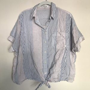 Madewell Striped Short Sleeve Button Down w/ Knot